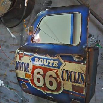 おんぼろ‼ アメリカン トラック/ ドアミラー & ウォールシェルフ/ シャビー ROUTE66(壁掛け鏡) #店舗什器