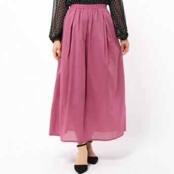 スカート レディース ロング 秋カラ—綿ローンマキシスカート パープル