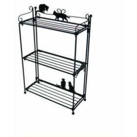【ラッピング無料!3】ラック3段 ネコ ブラックADL-2055 黒猫 くろねこ 黒ねこ 雑貨 猫  収納 キッチングッズ おしゃれ