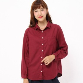 シャツ ブラウス レディース 新色登場 定番人気のオックスフォードコットン長袖シャツ 製品染め  クランベリー