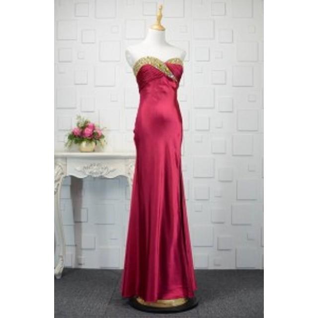b1684d942d15d  送料無料 配色 バイカラー ビジュー ハルネック ベアトップ マーメイドライン 大きいサイズ ドレス