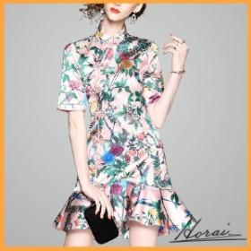 ドレス 半袖 ミニ丈 チャイナドレス風 スタンドカラー スカート ワンピース フォーマル 結婚式 二次会 20代 30代 40代 【お取り寄せ】