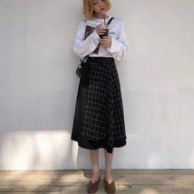 無地×チェック柄がオシャレ☆なデザインロングスカート