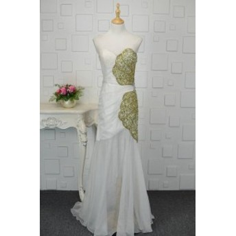 【送料無料】バイカラー ゴールド ビジュー シェル ハルネック ベアトップ 大きいサイズ ドレス 結婚式 お呼ばれ 5l BTBA1114