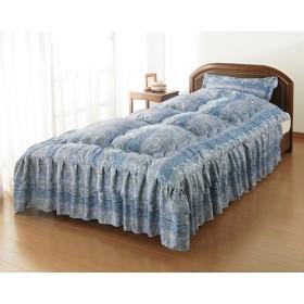シルク混ダブルフリルベッド布団 セミダブルブルー 同柄枕カバー付き (1セット)