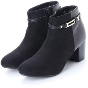 マフモフ Mafmof Realta(レアルタ) 上品ベルト付き素材コンビショートブーツ (ブラック・ブラックPU)