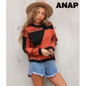 【セール開催中】ANAP(アナップ)幾何学柄クルーネックニットトップス