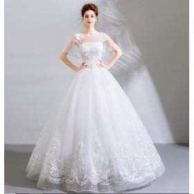 778788c28f627 ウエディングドレス プリンセスラインドレス 花柄 ロングドレス パーティードレス