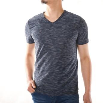 Tシャツ - ローコス Tシャツ メンズ 半袖 半袖Tシャツ メンズTシャツ カットソー トップス インナー Vネック リップル 杢 無地 黒 赤 グレー紺スリム 細身 春 夏 厚手 お洒落 ストレッチ 涼しい
