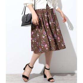 ひざ丈スカート - ViS 【着丈が選べる美人丈】フラワープリントスカート