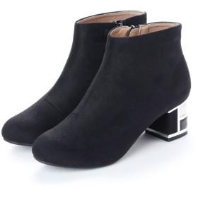 マフモフ Mafmof Realta(レアルタ) ブロックヒールのスエードショートブーツ (ブラック・スエード)