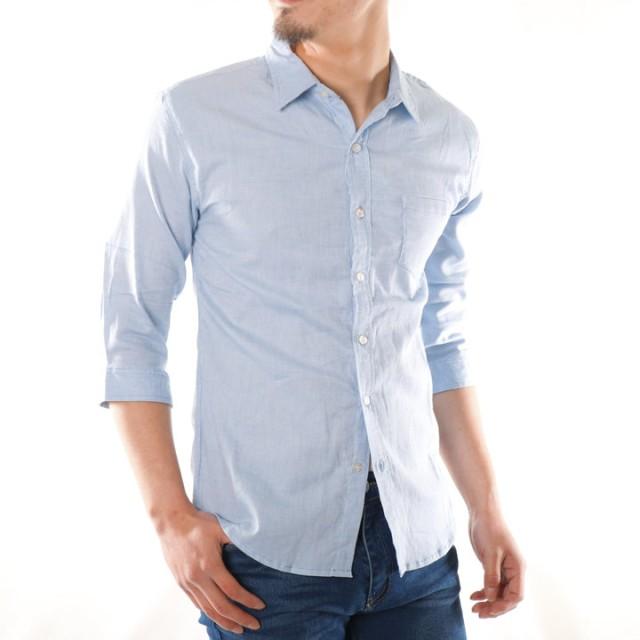 シャツ - ローコス シャツ メンズ 7分袖 カジュアルシャツ ストレッチシャツ メンズシャツ 7分袖シャツ 無地 白 サックス ピンク グリーンイエローグレー 紺 チェック ウィンドペン トップス 春 夏 トップス 綿 麻