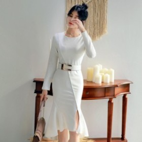 パーティードレス 長袖 パーティードレス 長袖 レース 袖あり 結婚式 ドレス ワンピース 大きい ロング ミモレ丈 結婚式ドレス fe-1130