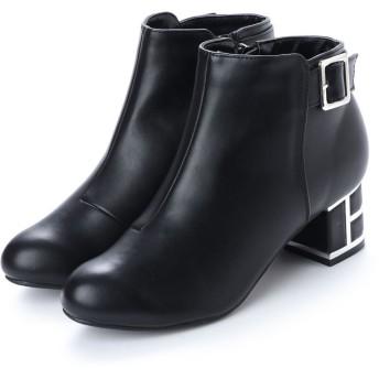 マフモフ Mafmof Realta(レアルタ) BLACKバックルベルトデザインのショートブーツ (ブラック・PU)