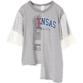 【6,000円(税込)以上のお買物で全国送料無料。】FURUGI-NI-LACE 袖と後ろLACE Tシャツ