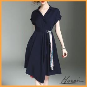 ドレス 半袖 ひざ丈 Vネックシャツ ウエストリボン スカート ワンピース デート お出かけ お呼ばれ 20代 30代 40代 【お取り寄せ】