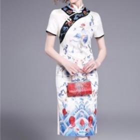 ドレスワンピース ホワイト 赤 ひざ丈 半袖 刺繍 チャイナ風 エレガント 結婚式 お呼ばれ 20代 30代 40代 春夏