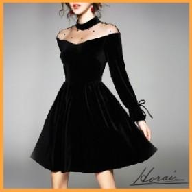 ドレス 長袖 ひざ上丈 オフショルダー シースルー ベルベット ワンピース スカート フォーマル 結婚式 20代 30代 【お取り寄せ】
