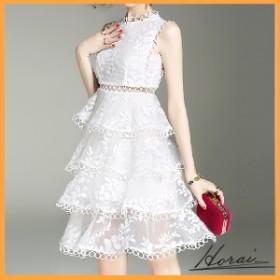 パーティードレス 袖なし ひざ丈 レース 上品 ワンピドレス スカート ワンピース フォーマル 結婚式 二次会 20代 30代 【お取り寄せ】