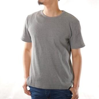Tシャツ - ローコス Tシャツ メンズ 半袖 半袖Tシャツ メンズTシャツ カットソー インナー トップス ワッフル サーマル クルーネック 無地白黒グレー 春 夏 厚手 お洒落 ストレッチ 定番