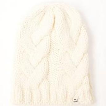 (セール)PUMA(プーマ)スポーツアクセサリー 防寒雑貨 ヘビーニットビーニー 83401862 エッグノッグ ホワイト
