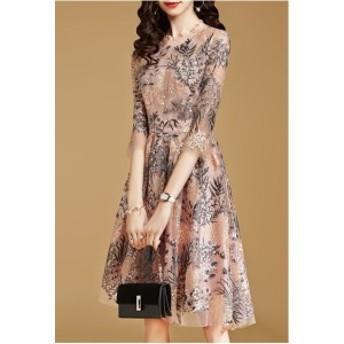 パールピンク クルーネック 5分袖 刺しゅう 半袖ドレス