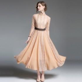 パーティードレス 韓国ワンピース お嬢様 花柄 フラワー ロングドレス 40代 30代 50代 20代 結婚式 二次会 食事会 お呼ばれ