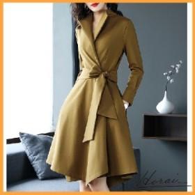 ドレス 長袖 ひざ丈 ウエストリボン ジャケット コート スカート ワンピース デート お出かけ オシャレ 20代 30代 40代 【お取り寄せ】