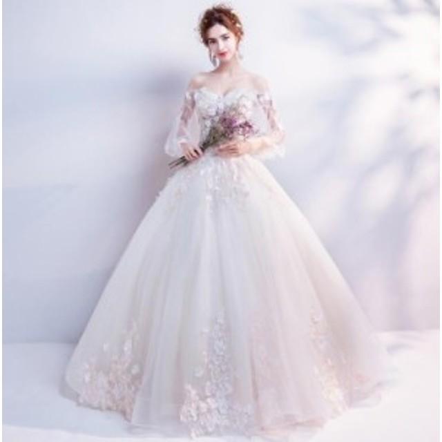 d547adef63577 ウエディングドレス プリンセスラインドレス 花柄 ロングドレス パーティードレス