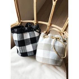 チェックショルダー巾着バッグ・全2色・n51592