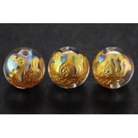 四神獣 彫刻ビーズ オーロラクォーツ 10mm 金彫り 朱雀 一粒 天然石 パワーストーン