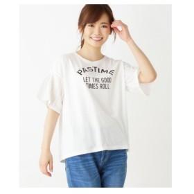 3can4on(Ladies)(サンカンシオン(レディース))フレアスリーブ ロゴTシャツ