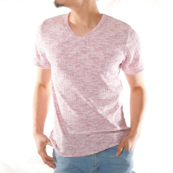 Tシャツ - ローコス Tシャツ メンズ 半袖 Vネック 半袖Tシャツ テレコTシャツ カラーTシャツ カットソー インナー トップス 杢 赤 白 黒ブルー春 夏 服 スリム 細身 涼しい ストレッチ 厚手 お洒落