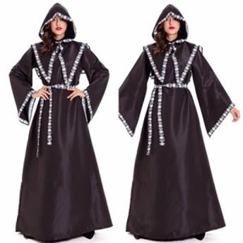 ハロウィン 仮装 コスプレ 魔導士 ダーク フード 大人 レディース fe-1243