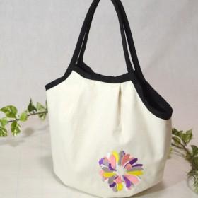 ★-花と詩刺繍-★帆布マチ付きトートバッグ