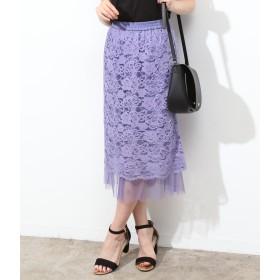 ひざ丈スカート - ViS 【リバーシブル】チュールヘムレーススカート
