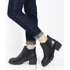 アタガール 5cm サイドゴア デザイン ショート ブーツ レディース ブラック M(23.0〜23.5cm) 【atta girl】
