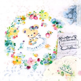 リトルアリスブルーの花のステッカー[春の庭 春の庭]