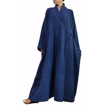 ジョムトン手織り綿のロングドレス No.1 インディゴ(DFS-053-03)