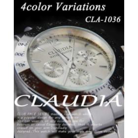 新作☆CLAUDIA★メタルタイプ シルバー デザインクロノグラフ メンズ 腕時計