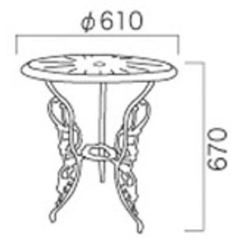 ジャービス商事 アルミ鋳物テーブル(中) 『ガーデンテーブル』 青銅色