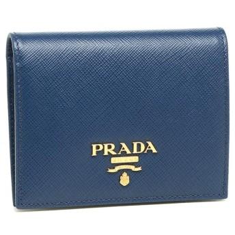 【送料無料】プラダ 財布 PRADA 1MV204 QWA F0016 SAFFIANO レディース 二つ折り財布 無地 BLUETTE 青