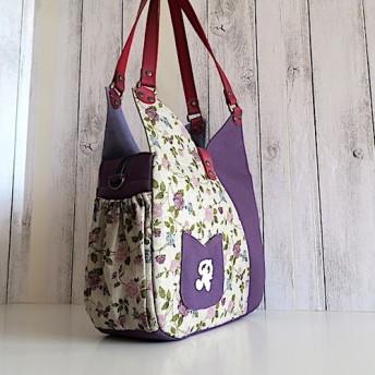 Creema限定、フランスリネン紫リタと倉敷帆布、チューリップ型バッグ煽りポケット