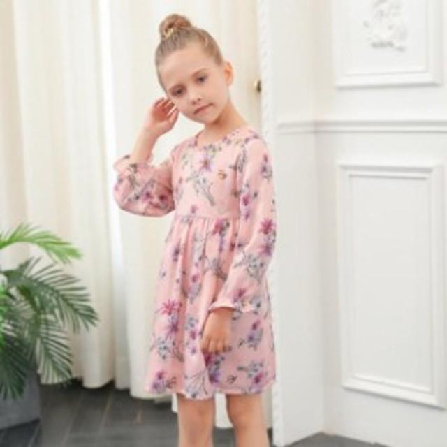 0d1e4fe851a ワンピース ピンク 花柄 ラウンド襟 長袖 キッズ 子供 女の子 子供服 おしゃれ カジュアルお出かけ