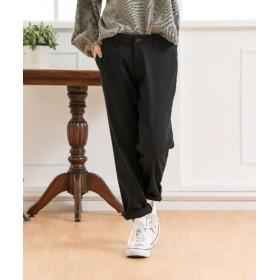 すごく伸びる綿混ルーズフィット9分丈テーパードパンツ(股下64cm) (レディースパンツ),pants