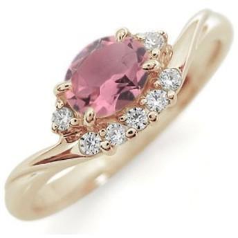 ピンクトルマリン 大粒 オーバル リング 10金 指輪
