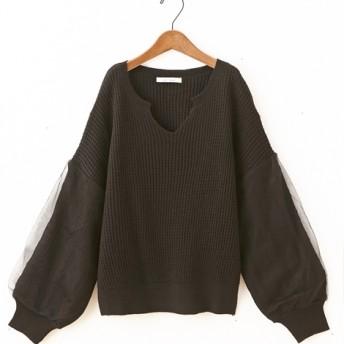 ラメ入チュール袖ショート丈キーネックセーター (ニット・セーター)
