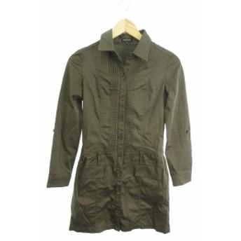 【中古】インディヴィ INDIVI ワンピース シャツ ひざ丈 長袖 05 緑 カーキ /SU38 レディース