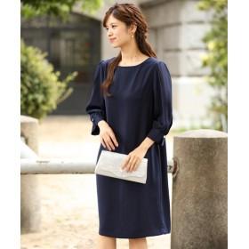袖シフォン使いワンピースドレス