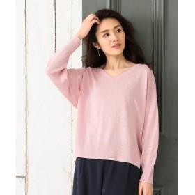 オーガニック綿混 Vネックセーター